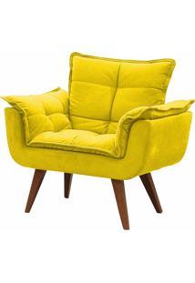 Poltrona Decorativa Opalla Suede Amarelo - Ds Móveis - Kanui