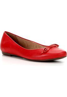 Sapatilha Couro Shoestock Basic Color Feminina - Feminino-Vermelho