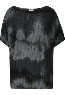 Blusa Ampla Manga Morcego Tie Dye Rasgos Preto