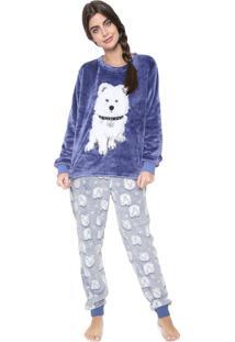 Pijama Any Any White Dog Azul