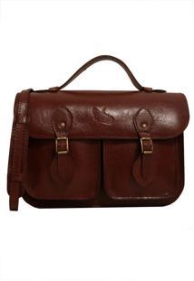 Bolsa Line Store Leather Satchel Pockets Pequena Couro Marrom Avermelhado. - Kanui