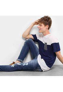Camiseta Drezzup Botonê Color Blocking Bolso Masculina - Masculino-Cinza+Verde