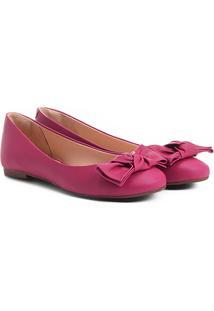 Sapatilha Shoestock Bico Redondo Laço Feminina - Feminino-Pink