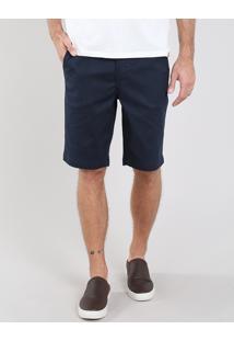 Bermuda Masculina Slim Texturizada Com Bolsos Azul Marinho