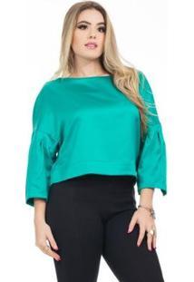 Blusa Clara Arruda Cetim Cropped 20632 Feminina - Feminino-Verde