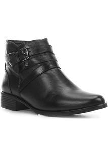 Bota Couro Shoestock Flat Fivelas Feminina - Feminino-Preto