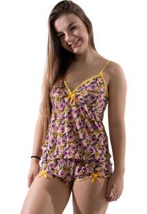 Baby Doll Estampado 4 Estações Curto Verão Variado Feminino Amarelo