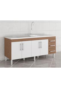 Gabinete Para Cozinha Flex 80X174Cm Amêndoa E Branco