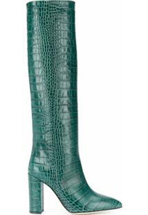 Paris Texas Bota Cano Longo Com Efeito De Pele De Crocodilo - Verde