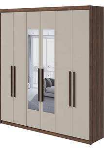 Guarda Roupa Libra 6 Portas Com Espelho Imbuia Naturale/Off White