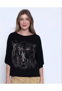 Blusa Bisô Tiger Feminina - Feminino-Preto