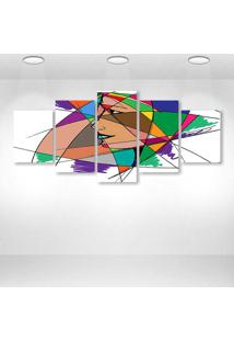 Quadro Decorativo - Abtract Art Face Woman - Composto De 5 Quadros - Multicolorido - Dafiti