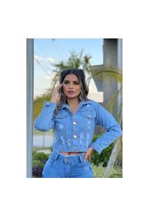 Jaqueta Jeans Feminina Fec Fashion Desfiada Azul Claro