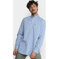 Camisa Xadrez Lacoste Vichy Masculina - Masculino-Azul Claro 315c610a7b