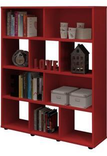 Estante Rack Book Com 10 Nichos Vermelho - Artely Móveis