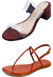 Kit Sandália Tamanco Salto E Rasteira Mercedita Shoes Cristal Com Cobra Vermelho E Verniz Borgonha - Kanui