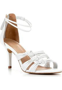 Sandália Couro Shoestock Salto Alto Tiras Feminina - Feminino-Branco