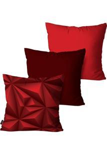 Kit Com 3 Capas Para Almofadas Pump Up Decorativas Vermelho 3D 45X45Cm