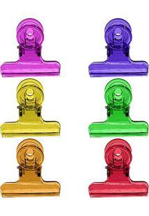 Prendedor Plástico Colorido Com 6