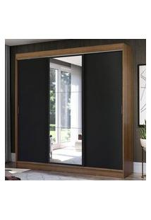 Guarda-Roupa Casal Madesa Istambul 3 Portas De Correr Com Espelho 3 Gavetas - Rustic/Preto Marrom
