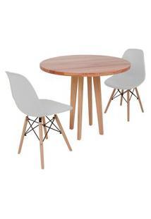 Conjunto Mesa De Jantar Em Madeira 90Cm Com Base Vértice + 2 Cadeiras Eiffel - Cinza