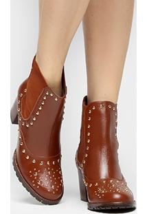Bota Couro Shoestock Curta Chelsea Feminina - Feminino-Caramelo