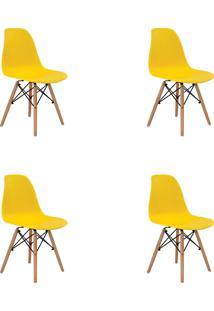 Kit 04 Cadeiras Eiffel S/ Braço Amarela Rivatti