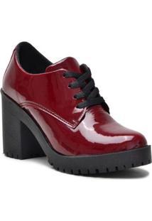 Bota Ferrarello Ankle Boot Bota Salto Verniz Feminina - Masculino-Vermelho