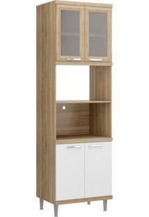 Paneleiro Para Forno Com Porta De Vidro 5120 Sicília Multimóveis Argila/Branco