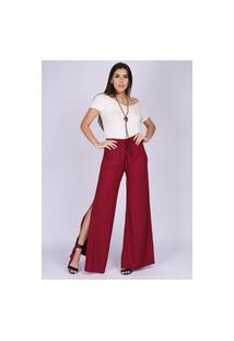 Calça Pantalona Viscose Com Fenda Bordô