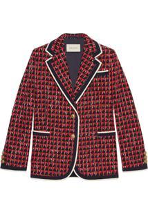 Gucci Jaqueta De Tweed Geométrico - Vermelho