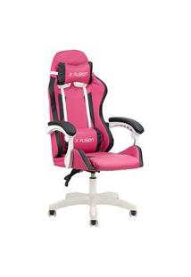 Cadeira Gamer Home Office Rosa Escuro Com Branco E Preto