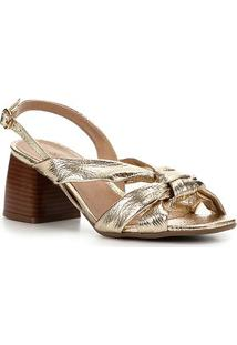 Sandália Shoestock Salto Bloco Nó Feminina - Feminino-Ouro