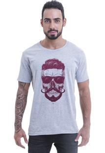 Camiseta Blast Fit Cinza Caveira Hipster