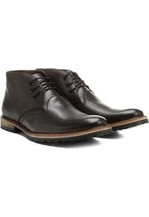 Bota Couro Cano Curto Shoestock Tratorada Masculina - Masculino-Café