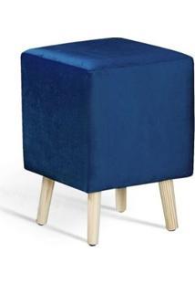 Puff Cube Azul Marinho Pes Palito Pinus 45Cm - 61336 - Sun House
