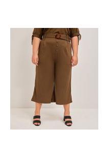 Calça Pantacourt Lisa Com Cinto Curve & Plus Size | Ashua Curve E Plus Size | Verde | Eg