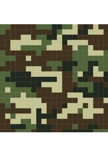 Papel De Parede Adesivo Camuflagem Digital Verde E Marrom (0,58M X 2,50M)