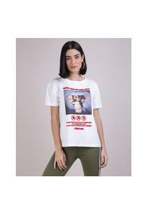 Blusa Feminina Gremlins Manga Curta Decote Redondo Branca