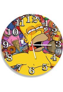 Relógio De Parede Decorativo Homer Simpson Fome 35Cm Único