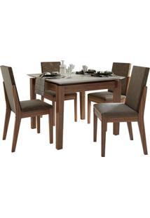 Sala De Jantar Áries Com 4 Cadeiras Imbuia Naturale