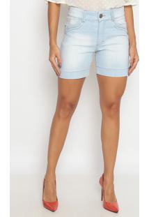 Bermuda Jeans Estonada Com Puídos- Azul Claro- Sisalsisal