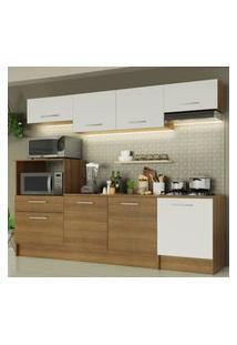 Cozinha Completa Madesa Onix 240003 Com Armário E Balcáo - Rustic/Branco 5Z9B Marrom