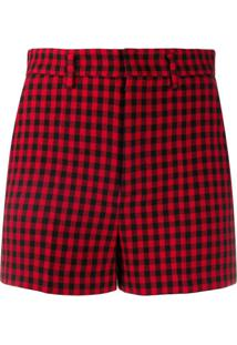 Redvalentino Gingham-Check Shorts - Vermelho