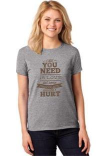 Camiseta T-Shirt All You Need Is Chocolate Baby Look Feminina - Feminino-Cinza