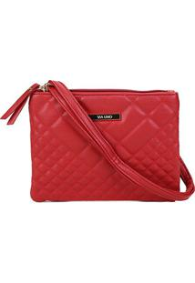 Bolsa Via Uno Mini Bag Matelassê Placa Feminina - Feminino-Vermelho