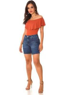 Bermuda Jeans Express Momy Feminina - Feminino-Azul