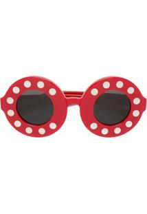 Linda Farrow Óculos De Sol Redondo - Vermelho