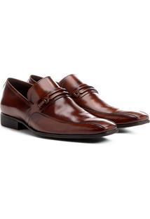 Sapato Social Couro Shoestock Detalhe Gravata - Masculino-Marrom Claro