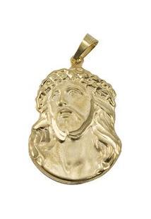 Pingente Face De Cristo Tudo Joias Folheado A Ouro 18K - Unissex-Dourado